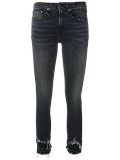 джинсы с эффектом потертости R13
