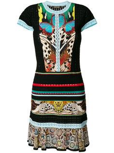 трикотажное платье в полоску Roberto Cavalli