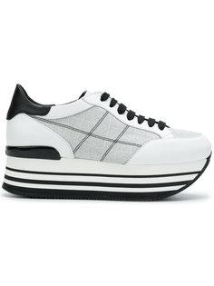 кроссовки на платформе в клетку Hogan