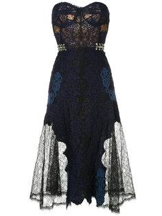 кружевное платье-бостье кроя  миди  Jonathan Simkhai