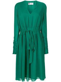 шифоновое платье с поясом Lanvin