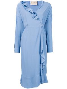 платье с запахом и оборкой  Erika Cavallini