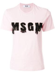 футболка с логотипом из бисера MSGM