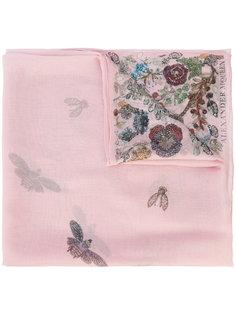 шарф с рисунком из украшений, цветов и жуков Alexander McQueen