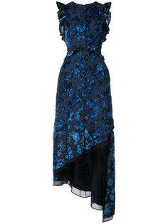 асимметричное вечернее платье с цветочным узором Self-Portrait