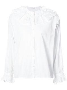 блузка с оборчатым воротником и отделкой шитьем Vilshenko