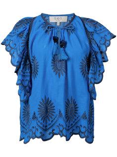 блузка с вышитыми цветами и оборками Sea