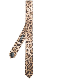 галстук с леопардовым принтом Dolce & Gabbana