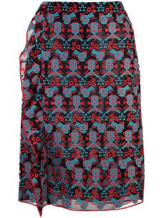 вышитая юбка-карандаш с оборкой Emporio Armani