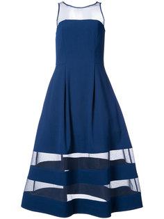 расклешенное платье-миди с полупрозрачными вставками Aidan Mattox