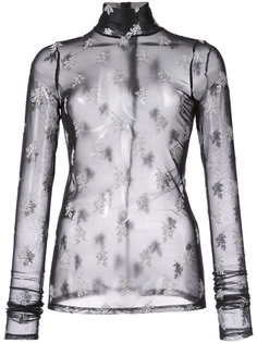 floral embroidered sheer top Cinq A Sept