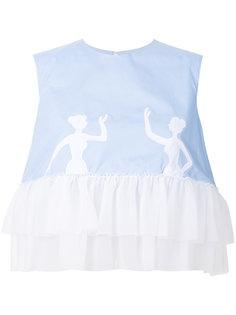 блузка с аппликацией в виде балерин и оборочной отделкой Vivetta