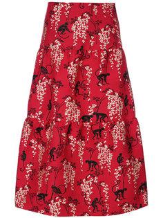 расклешенная юбка миди с вышивкой  Red Valentino