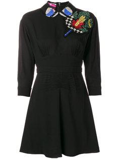 декорированное платье мини с аппликацией Miu Miu