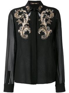 прозрачная рубашка с вышивкой Roberto Cavalli