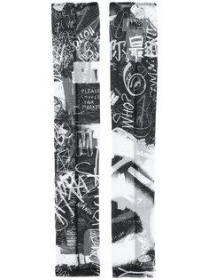 """перчатки без пальцев с принтом в стиле """"граффити"""" Mm6 Maison Margiela"""