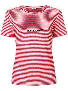 полосатая футболка с вышивкой логотипа Saint Laurent