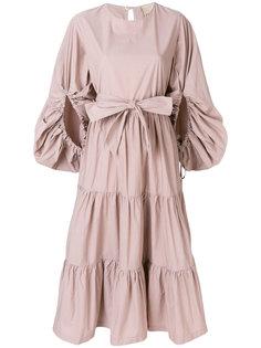 платье с оборочным дизайном с поясом Erika Cavallini