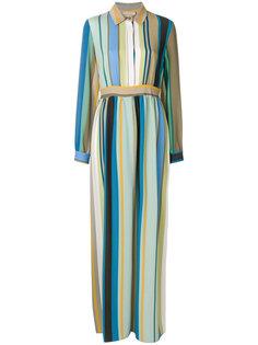 длинное платье-рубашка с полосатым узором Erika Cavallini