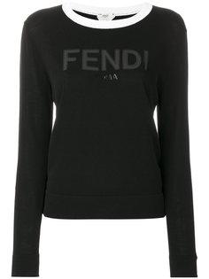 свитер с контрастным вырезом и логотипом Fendi