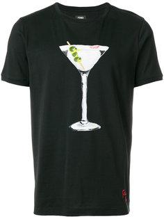 футболка с принтом мартини  Fendi