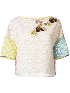 кружевная блузка колор-блок  Antonio Marras