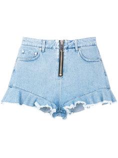 короткие джинсовые шорты с оборочной отделкой MSGM