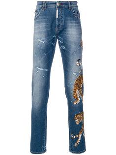 прямые джинсы с вышивкой тигра Philipp Plein