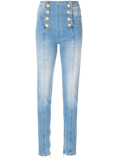 джинсы скинни с декоративными пуговицами Balmain