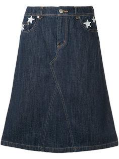 джинсовая юбка с заплатками в форме звезд Guild Prime