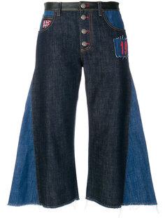укороченные джинсы клеш с контрастной отделкой  Sonia Rykiel
