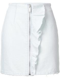 джинсовая мини-юбка с оборкой  MSGM