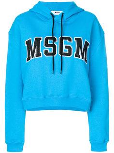 укороченная толстовка с капюшоном и логотипом  MSGM