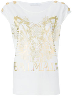футболка с декоративными пуговицами Pierre Balmain