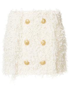 твидовая юбка с пуговицами Balmain