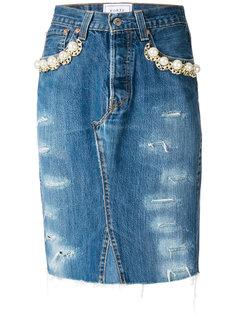 декорированная джинсовая юбка  Forte Couture