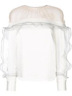 блузка с прозрачной панелью и рюшами Self-Portrait