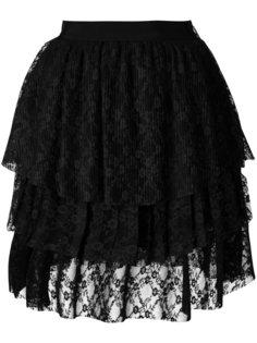 кружевная ярусная юбка из тюли  MSGM