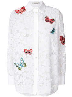 кружевная рубашка с вышивкой бабочек Valentino
