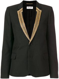 блейзер с вышивкой на лацканах  Saint Laurent