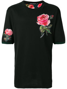 футболка с заплаткой в виде розы Dolce & Gabbana