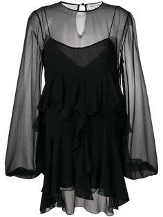 асимметричное платье с рюшами Saint Laurent