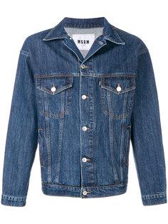 джинсовая куртка с полосами на спине MSGM