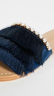Mystique Fringe Slides with Imitation Pearls