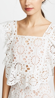 Red Carter Adair Cropped Lace Top