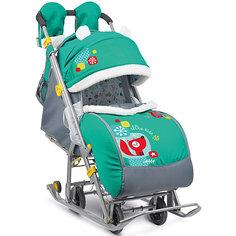 Санки-коляска Ника детям  7-2, Коллаж-лисички, изумрудный Nika