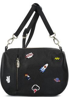 Кожаная сумка через плечо с ярким декором Curanni