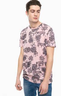 Розовая футболка с животным принтом Jack & Jones