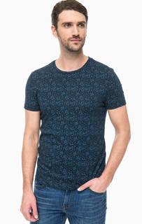 Синяя хлопковая футболка с круглым вырезом Mavi