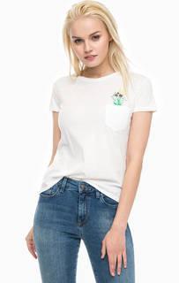 Белая футболка с яркой вышивкой Mavi